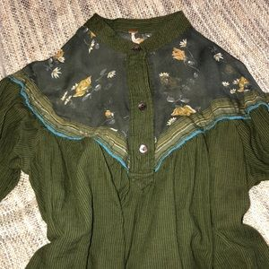 Free People green floral oversized top